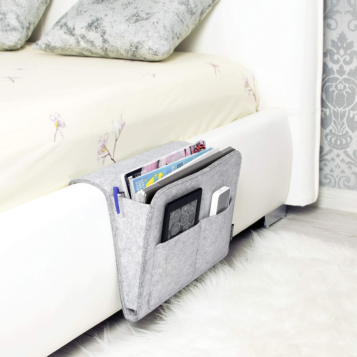 the bedside caddy in gray