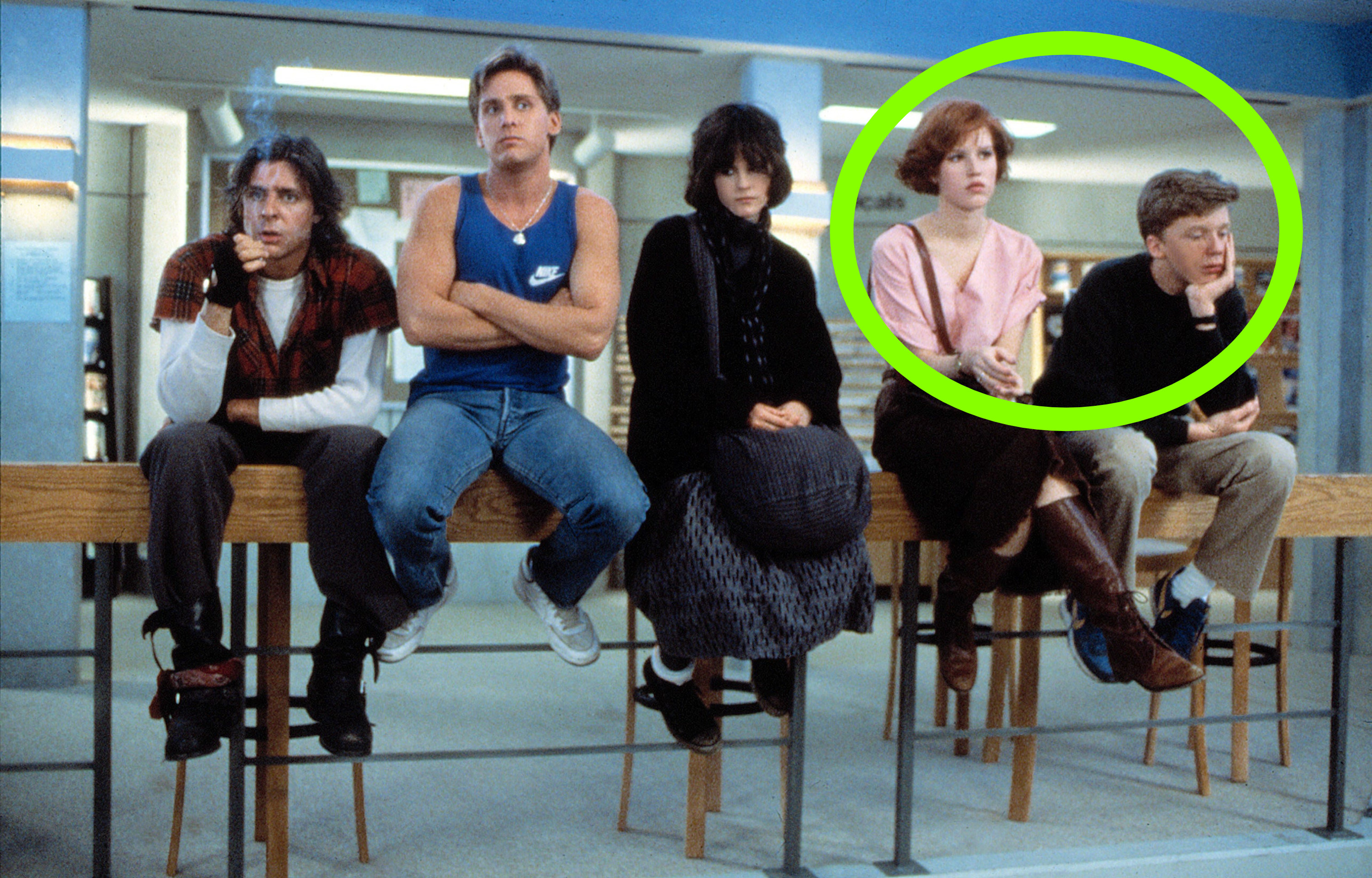 Molly and Anthony circled as everyone sits on the ledge in The Breakfast Club