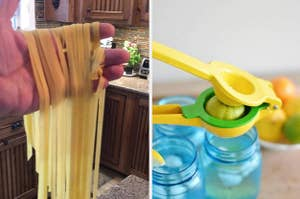 to the left: freshly made pasta, to the right: a lemon squeezer