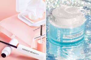 A split image with pink makeup wipes and mascara and blue moisturizer in water