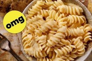 a cheesy bowl of fusilli pasta
