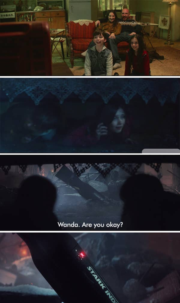 The family watching TV, her parents being crushed by the rubble, Wanda and Pietro hiding, and a stark industries weapon landing in their living room