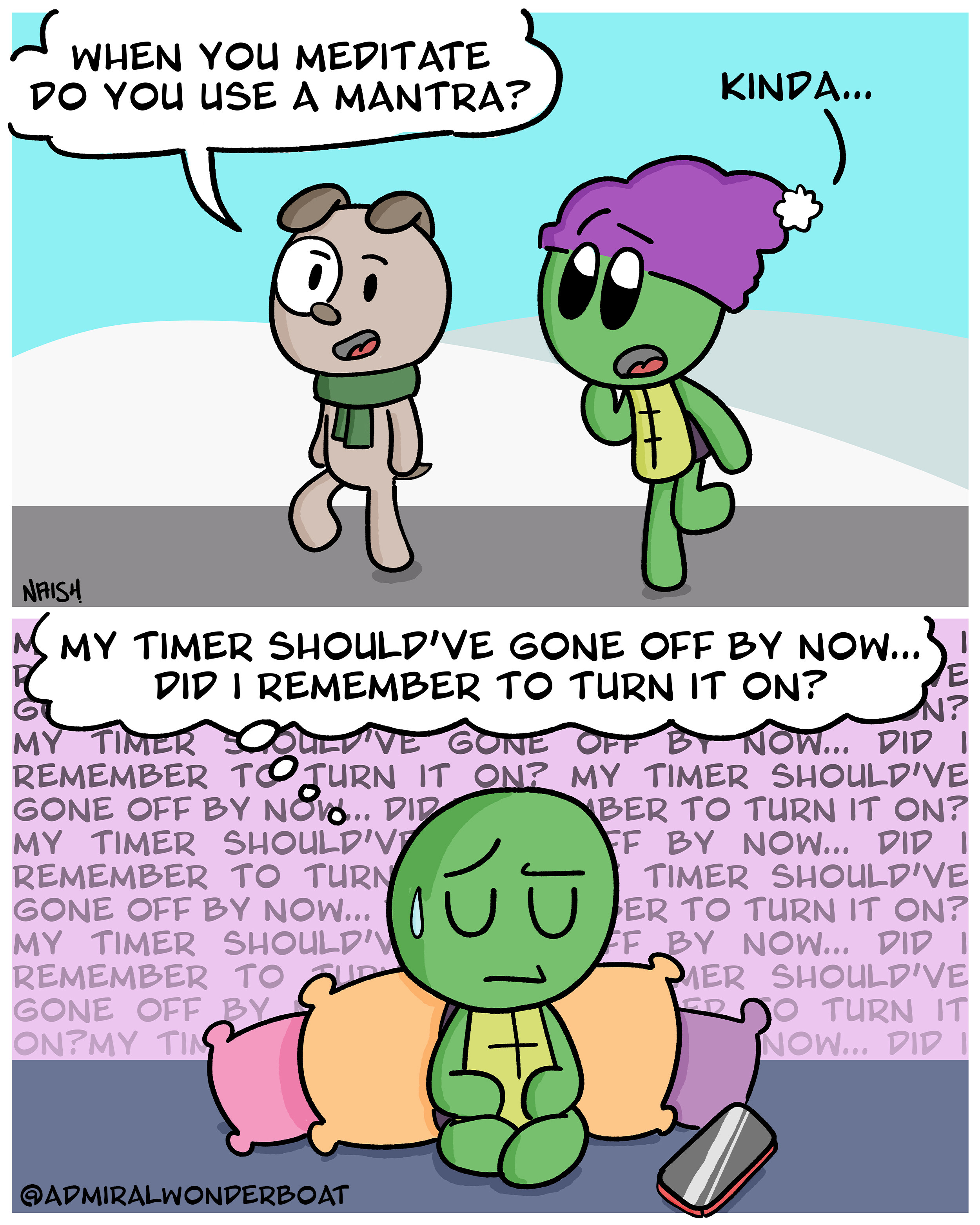 a cartoon turtle struggling to keep their thoughts quiet whilst meditating, afraid they didn't turn on their alarm