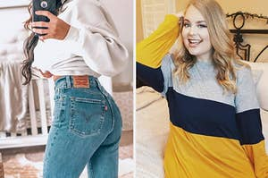 a reviewer wearing Levi's jeans and a reviewer wearing a striped yellow, blue, and gray top