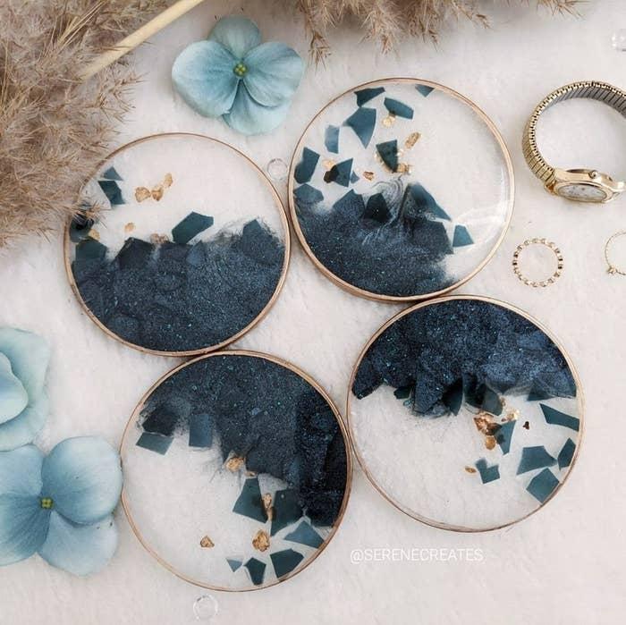 Four circular coasters