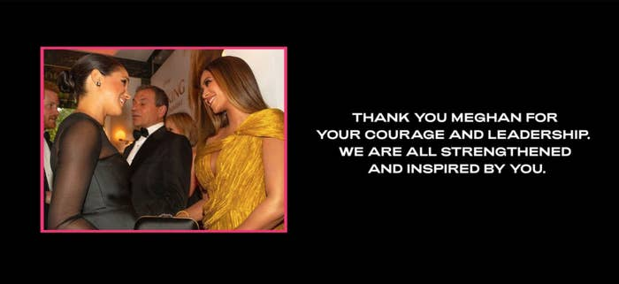 A screenshot of the message that Beyoncé posted to her website along with a photo of the singer with Meghan Markle
