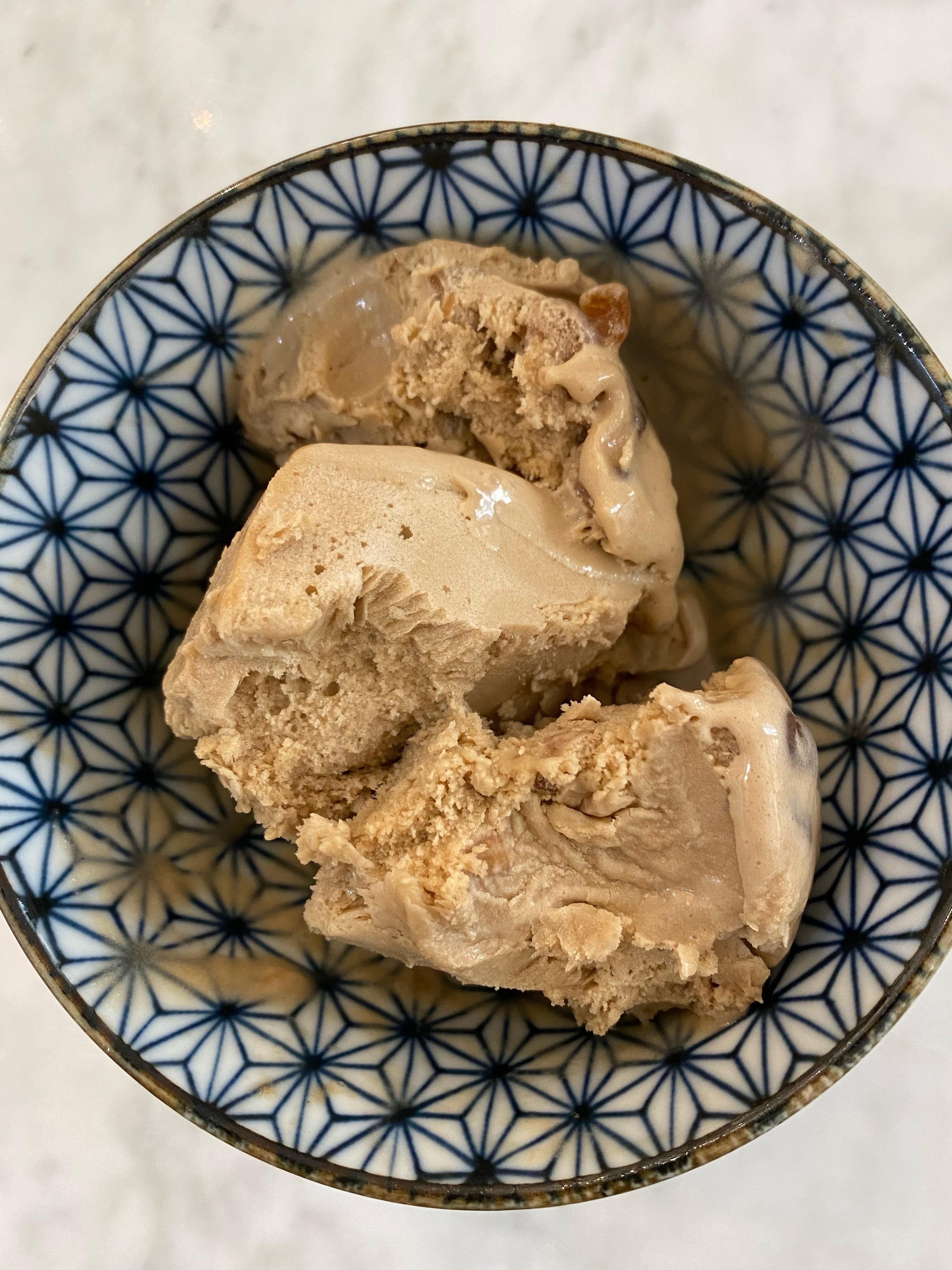 A bowl of cold brew boba ice cream.