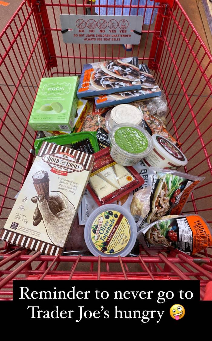 A cart full of Trader Joe's foods.