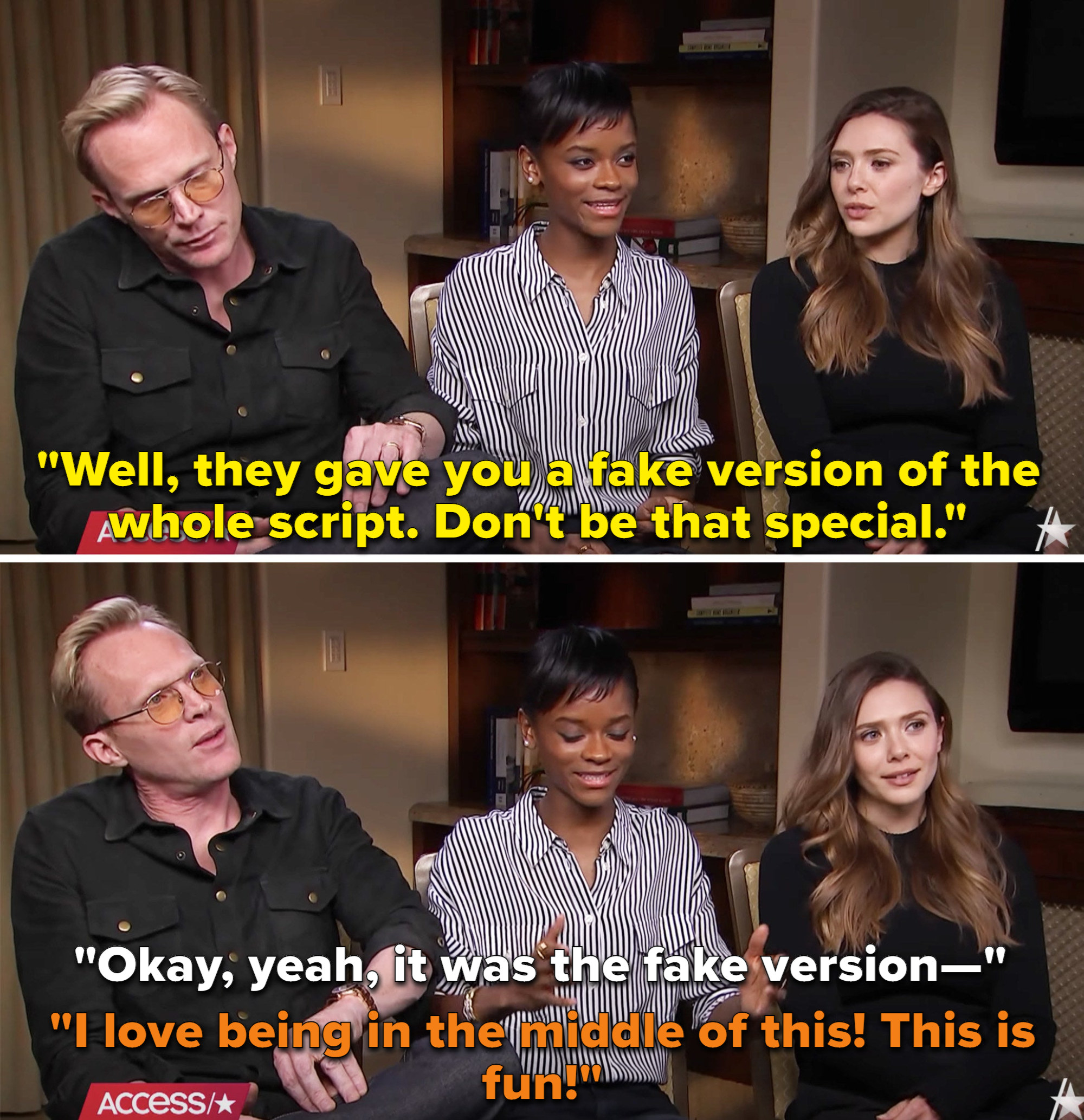 """Letitia Wright saying, """"I love being in the middle of this! This is fun"""" while Lizzie and Paul fake argue"""