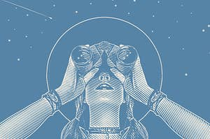 A drawing of a girl with binoculars looking into the night sky full of stars