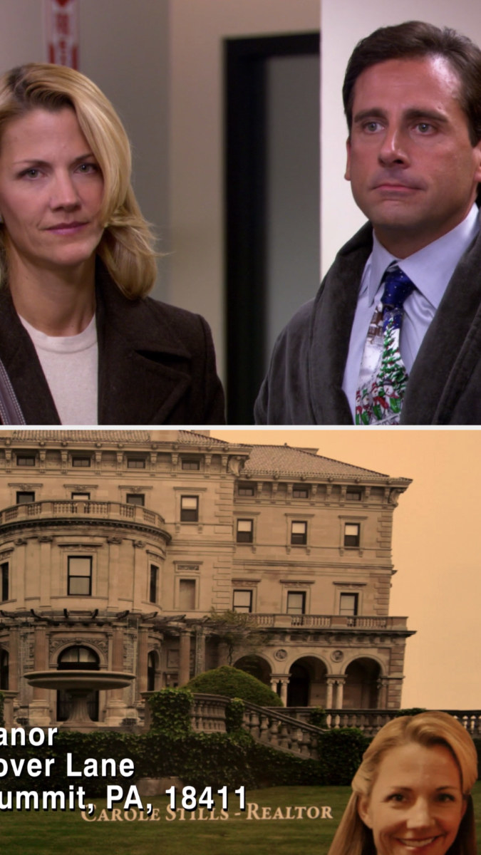 """At the bottom of a picture of a large house in """"Threat Level Midnight"""", it says """"Carol Stills - Realtor"""" with a picture of Carol's face"""