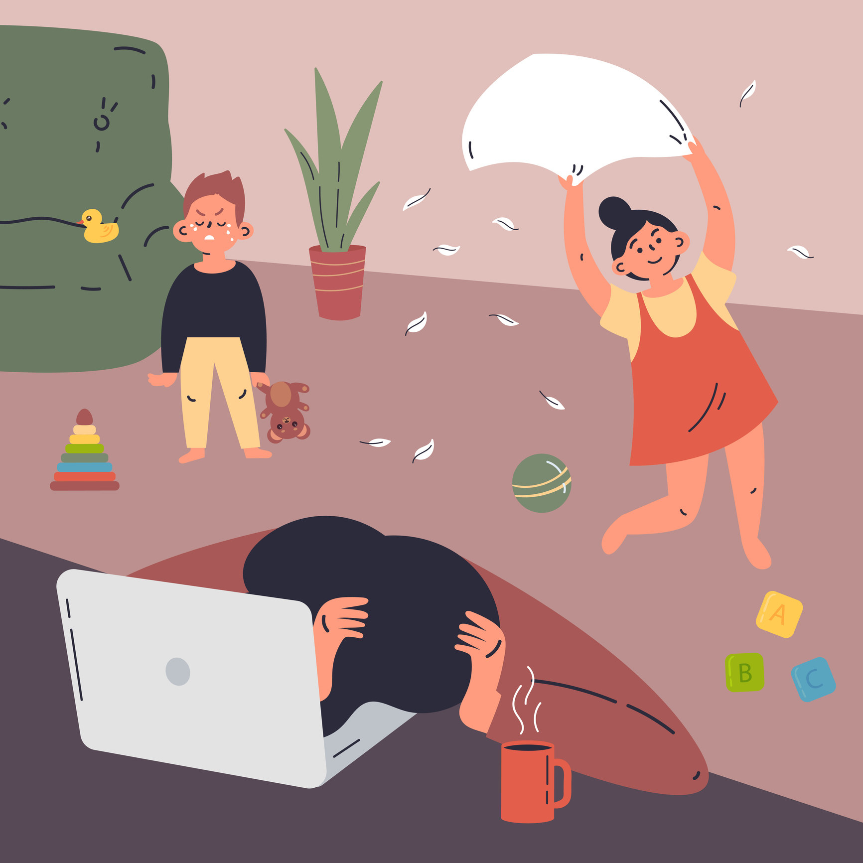 Illustration of kids being wild while a mother is trying to work