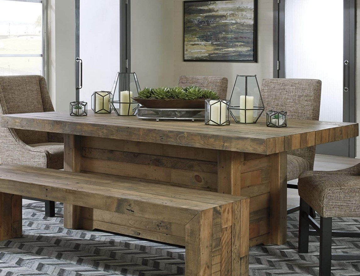 Wooden block dining table