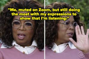 Oprah looking shocked during her interview with text reading