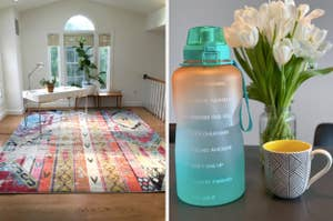 colorful rug on the left and a motivational water bottle on the right