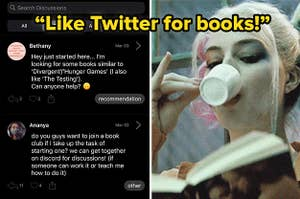"""(left) screenshot of the app showing people starting threaded convos; (right) Harley Quinn sips espresso while reading a book; over laid text: """"like twitter for books!"""""""