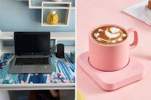 (left) Desk mat (right) Pink mug warmer