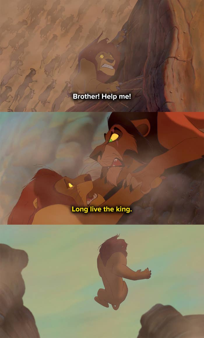 Scar throws Mufasa off the cliff and into the stampede