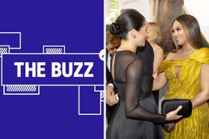 Splitscreen of purple graphic with THE BUZZ in white letters on the left side and a photo of Meghan Markle and Beyoncé on the right side (CREDIT: GETTY)