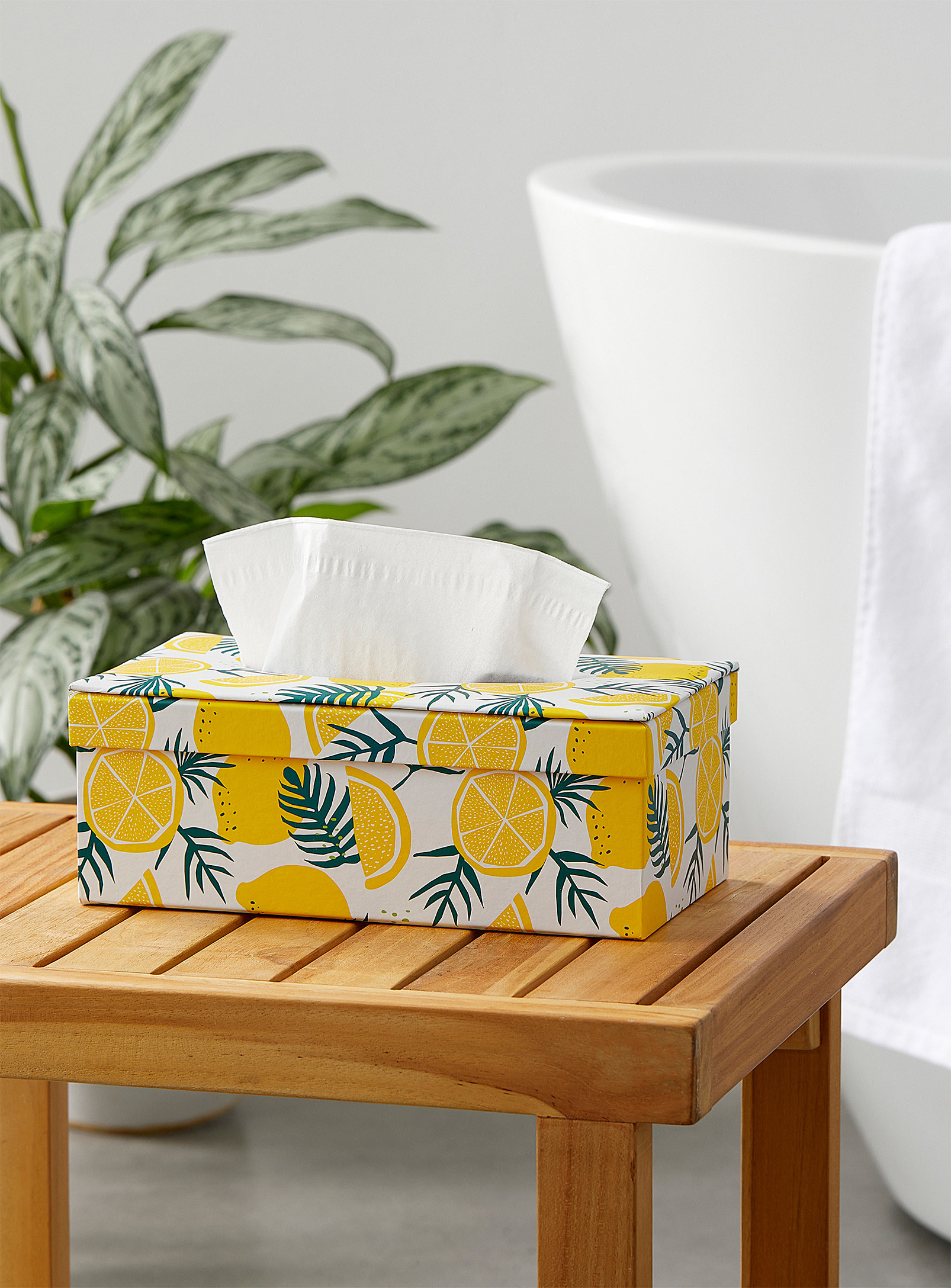 the tissue box on a table