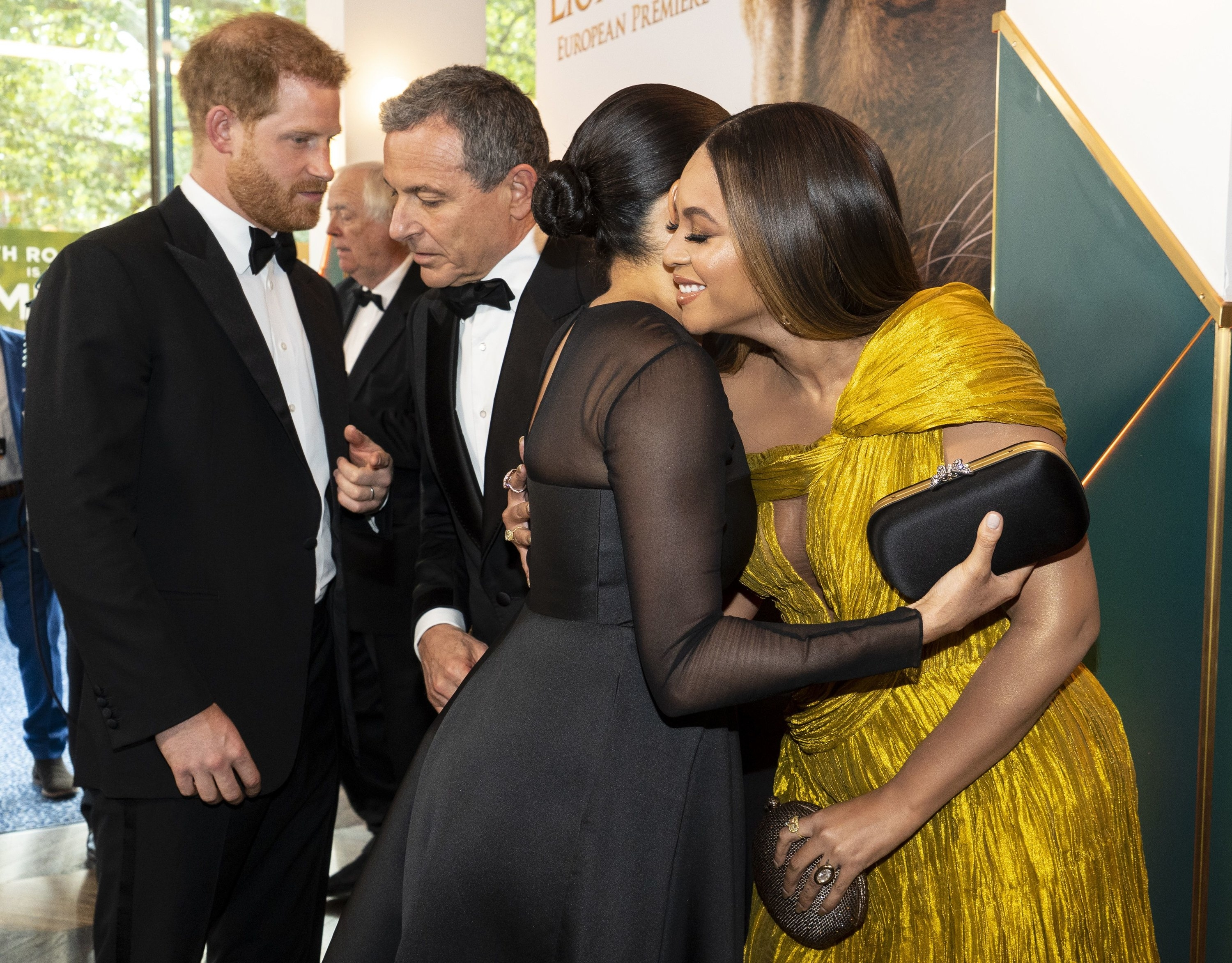 Beyonce hugs Meghan Markle at the Lion King premiere in London in 2019