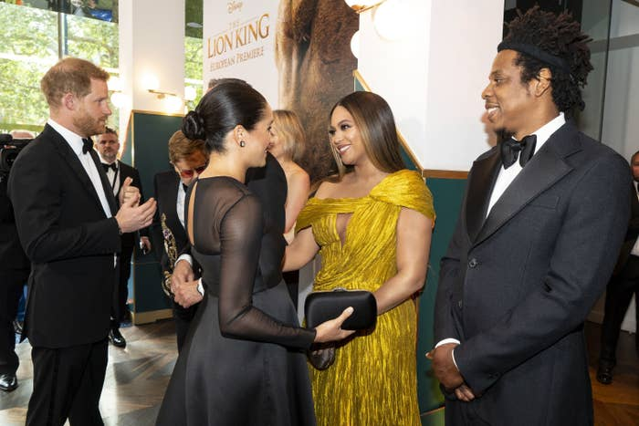 Prince Harry and Meghan Markle meet Beyoncé and Jay-Z at the premiere of The Lion King in London in 2019