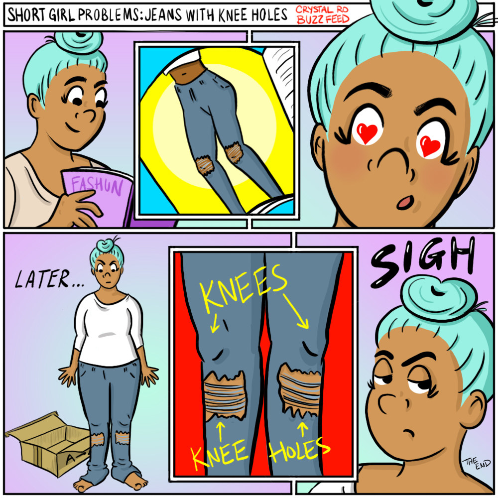 Comic of someone ordering jeans, and when they arrive, trying them on and the ripped knee holes are on their shins