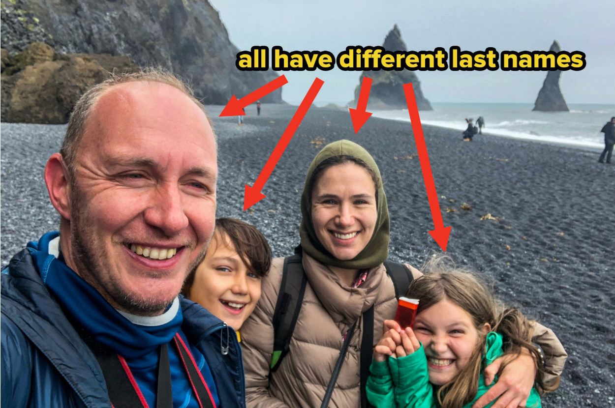 """A family of four poses for a selfie on an Icelandic beach with text """"all have different last names"""""""