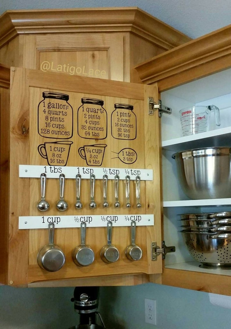the inside of a wooden cabinet with measurement cup decals and wooden strips