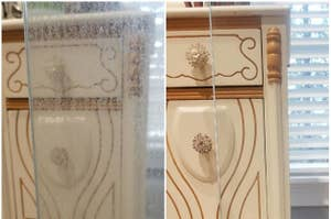 A reviewer's before/after of the heavy stains removedon a glass door