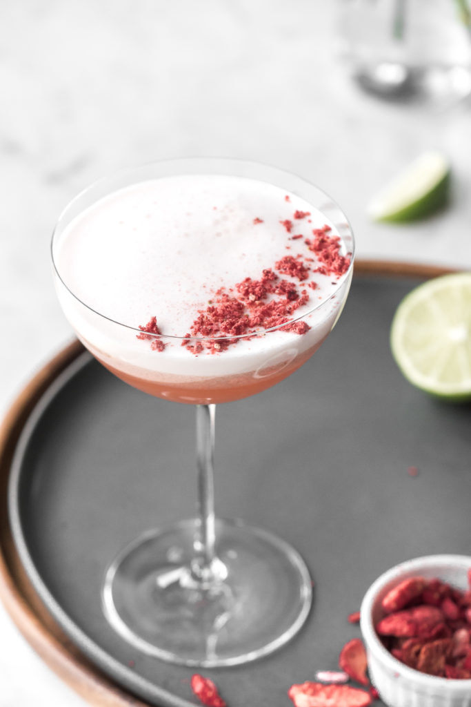 A strawberry mezcal cocktail.