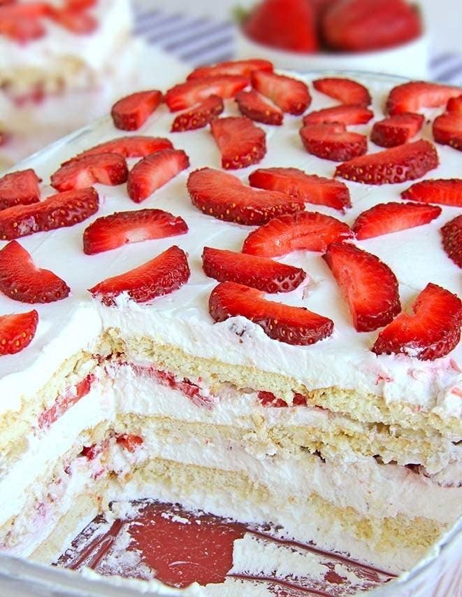 A strawberry icebox cake.
