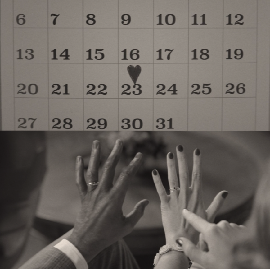 A calendar shows the 23rd date with a heart drawn on it and two hands showing off wedding rings