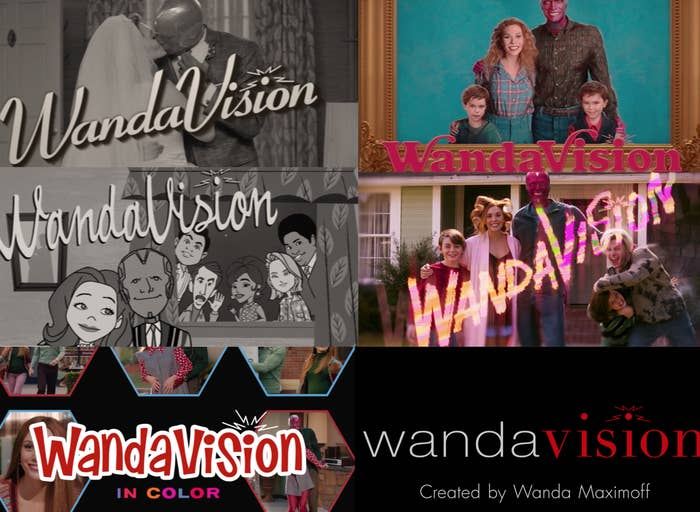 """The six different eras of title cards for the show """"WandaVision"""""""