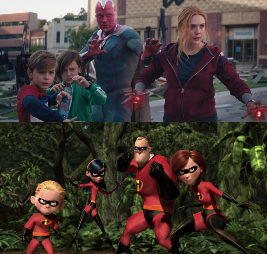 The Wanda Vision family posing similarly to the superhero family in The Incredibles
