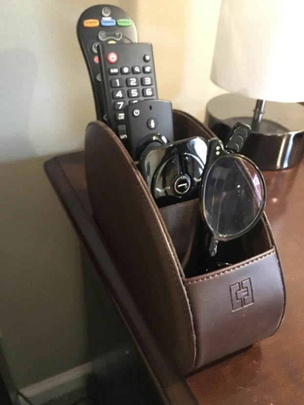 reviewer's photo of the file-like organizer holding various remotes and a pair of reading glasses