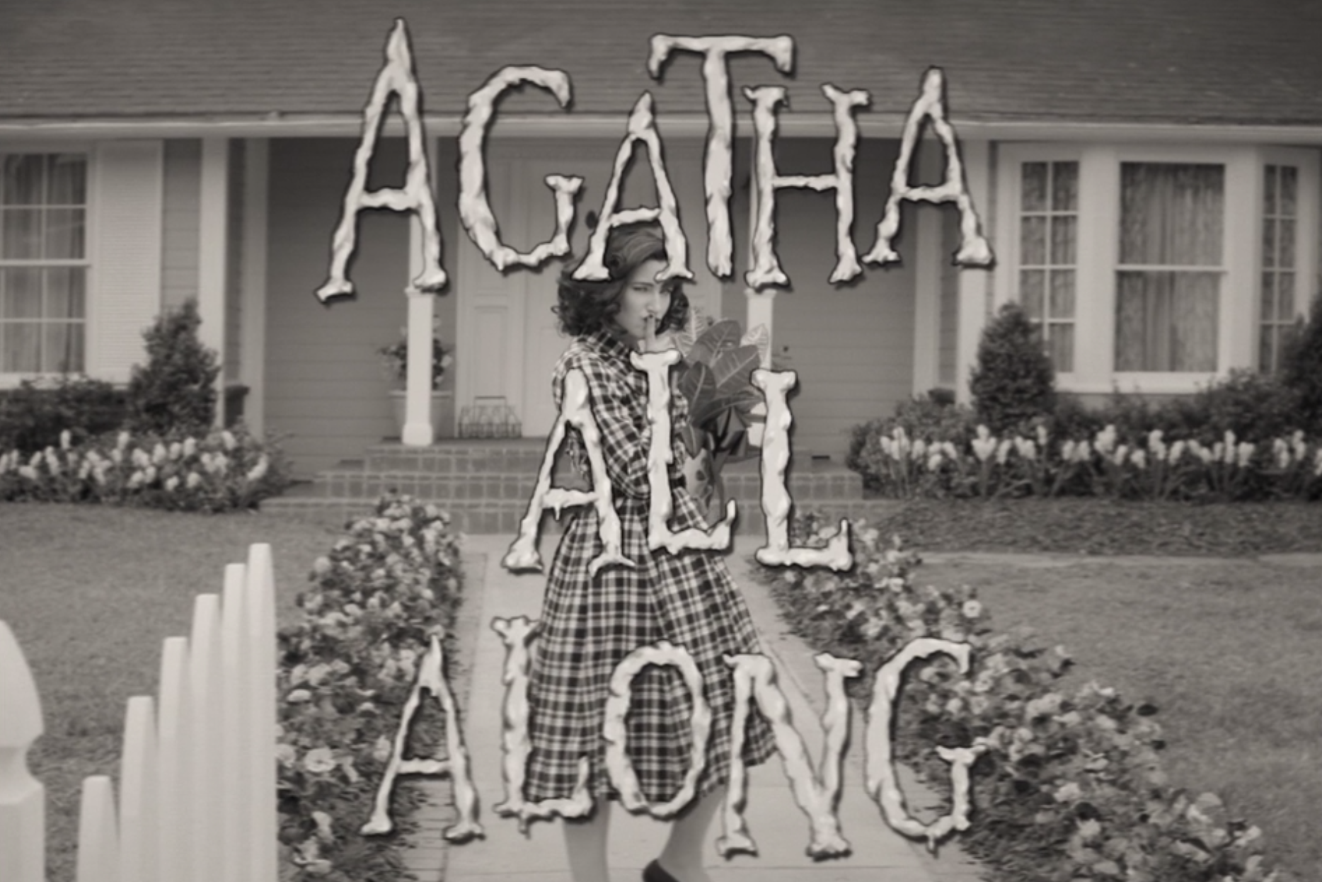 Kathryn Hahn as Agatha Harkness walking up to Wanda's door
