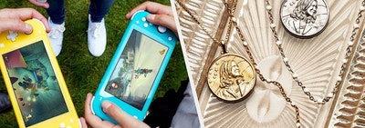 to the left: three people holding nintendo switch lites, to the right: two kamala harris necklaces