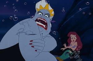 Ursula wearing king triton's crown, holding ariel hostage
