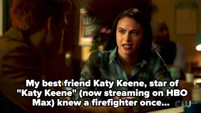 """Veronica with the caption """"my best friend katy keene star of katy keene now streaming on HBO Max knew a firefighter one..."""""""