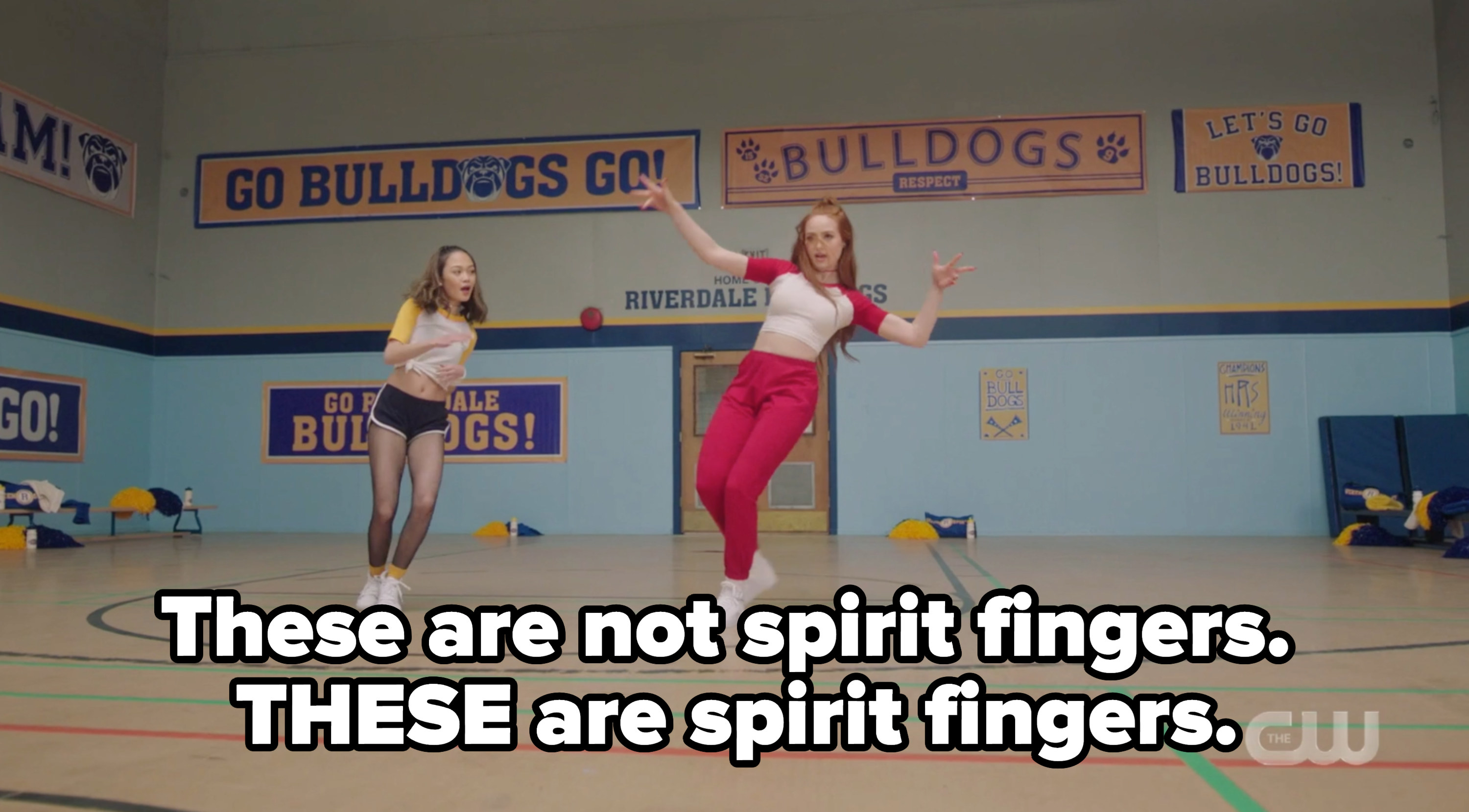 Cheryl dancing with a caption about spirit fingers as a bring it on reference