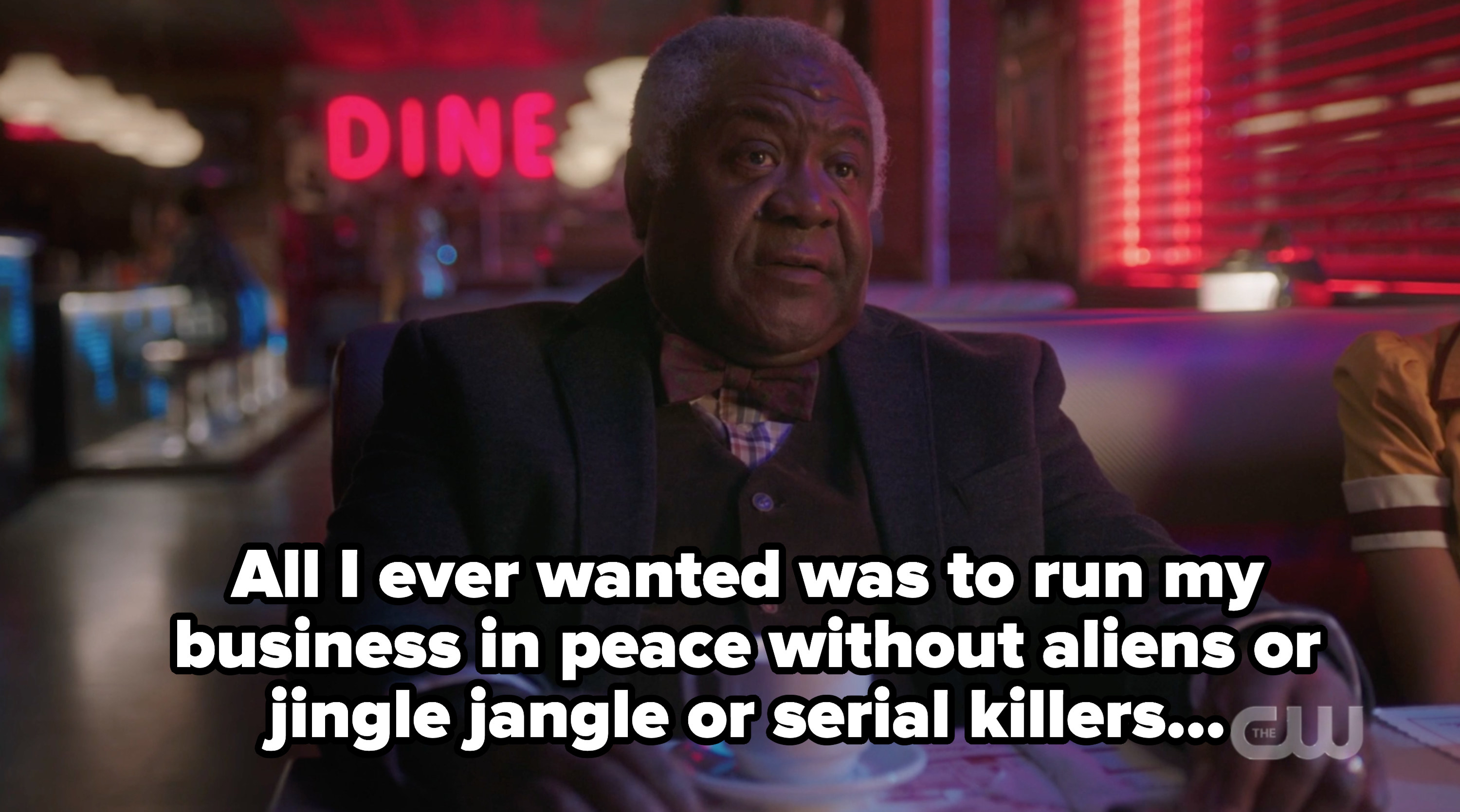 """Pop with the caption """"all i ever wanted was to run my business in peace without aliens r jingle jangle or serial killers"""""""