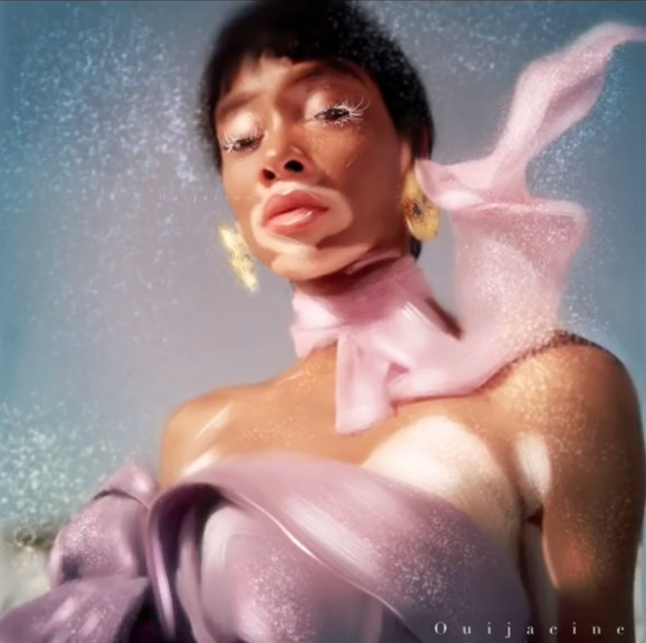 The finished portrait showcasing Winnie Harlow, a model who has vitiligo; it has a naturally ethereal look to it