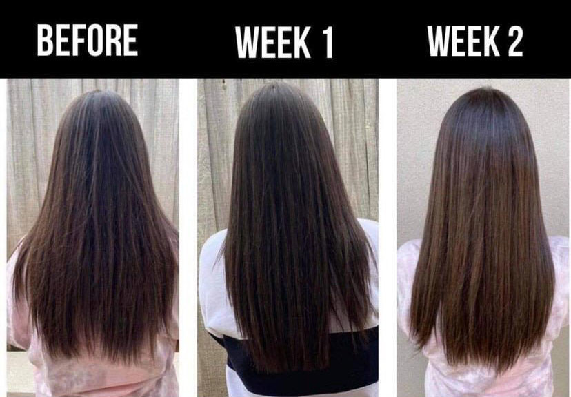A two-week progress photo showing the hair improving and getting healthier