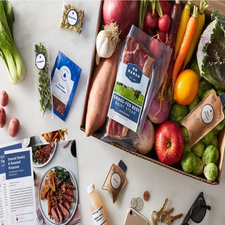 Opened box of produce