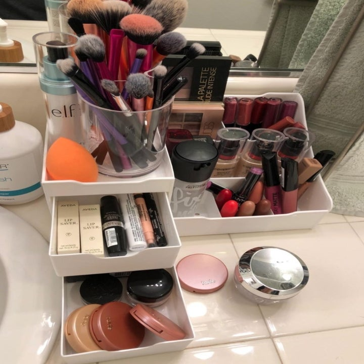 The organizer with makeup products