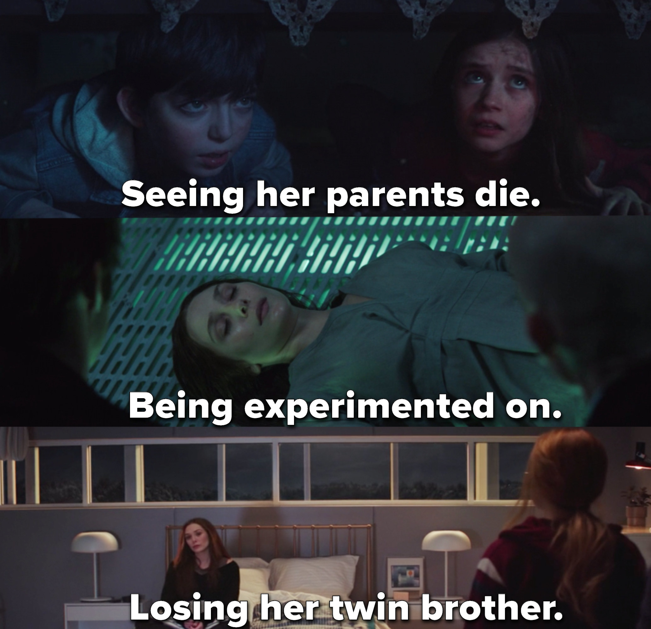 """Wanda """"seeing her parents die, being experimented on, and losing her twin brother"""""""