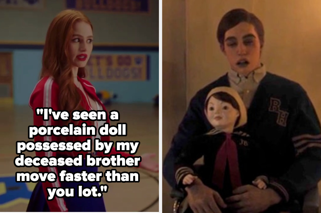 """Cheryl saying I've seen a porcelain doll possessed by my deceased brother move faster than you lot"""" next to a picture of JJ and Julian"""