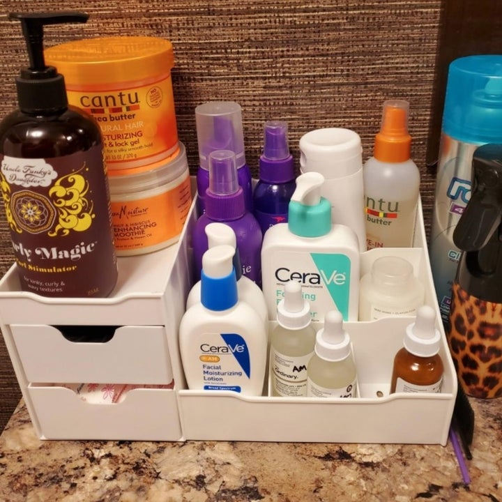 The organizer with skincare products
