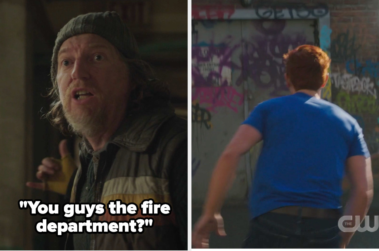 """Guy asking archie """"you guys the fire department?"""""""